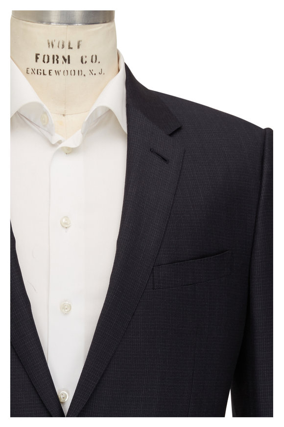 Ermenegildo Zegna Navy Blue Textured Wool & Silk Neat City Suit