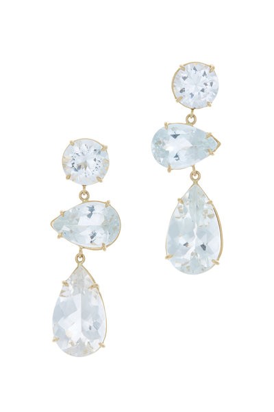 Emily & Ashley - Yellow Gold 3 Tier Quartz Earrings