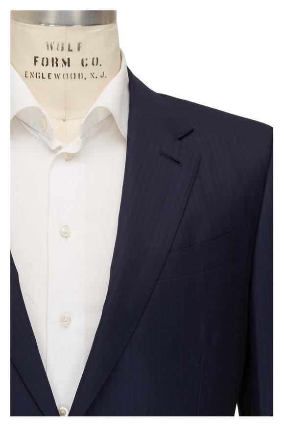 Ermenegildo Zegna Navy Blue Striped Wool & Silk Suit