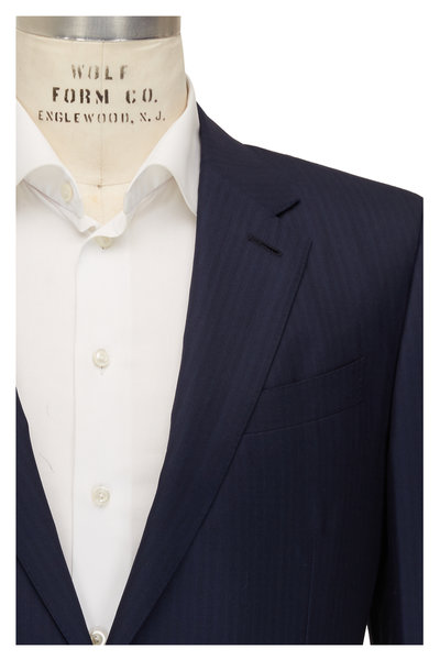 Ermenegildo Zegna - Navy Blue Striped Wool & Silk Suit