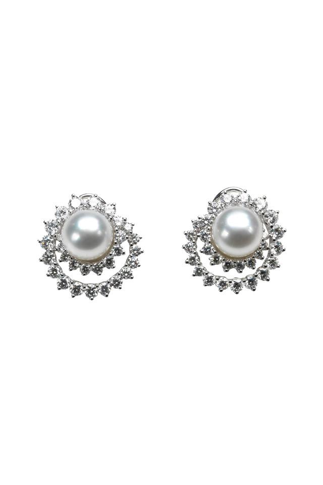 White Gold Double Swirl Diamond Earrings