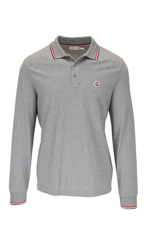 Moncler Gray Piqué Long Sleeve Logo Polo