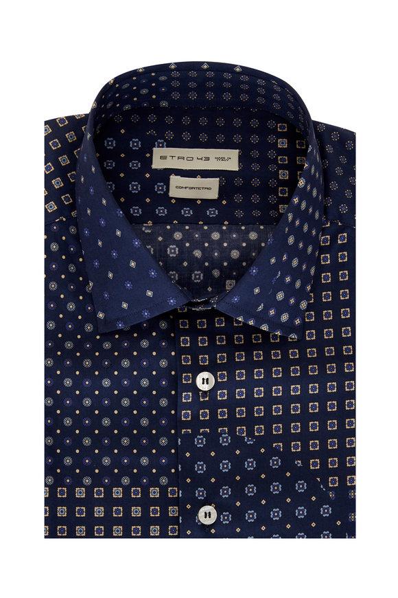 Etro Navy Blue Calico Paisley Sport Shirt