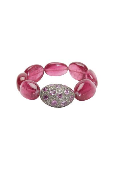 Loren Jewels - Silver Pink Sapphire & Pavé-Set Diamond Bracelet