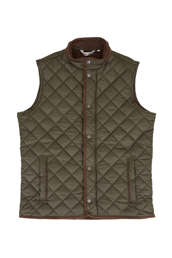 Peter Millar Essex Olive Quilted Nylon Vest