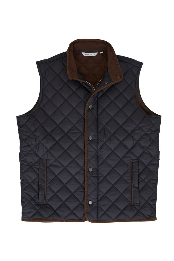 Peter Millar Essex Black Quilted Nylon Vest