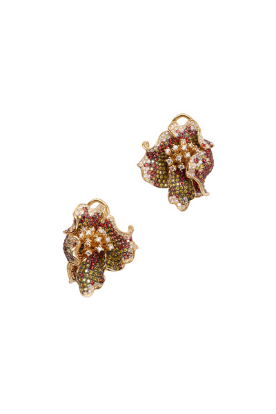 Frank Ancona - Yellow Gold Mixed Sapphire & Diamond Earrings