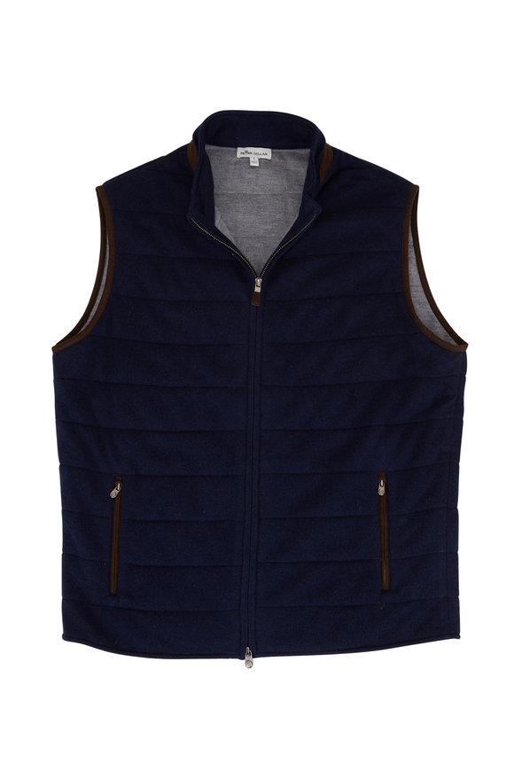 Peter Millar Navy Wool & Cashmere Front Zip Vest