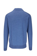 Peter Millar - Sailor Blue Leather Trim Quarter-Zip Pullover