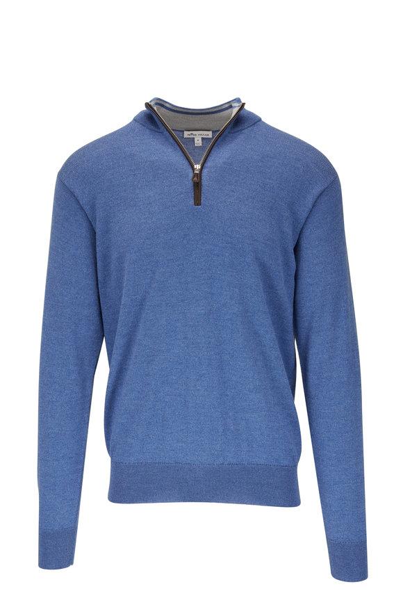 Peter Millar Sailor Blue Leather Trim Quarter-Zip Pullover
