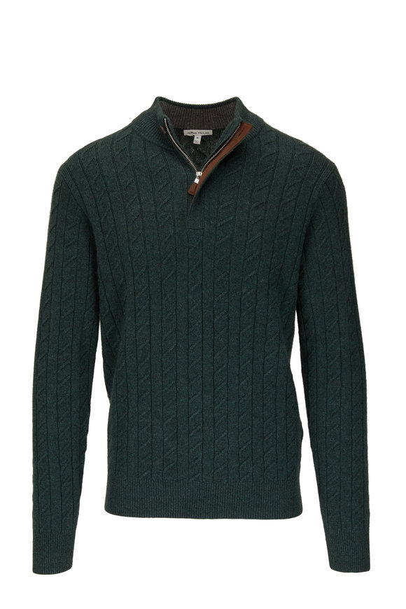 Peter Millar Jurassic Green Cable Knit Quarter-Zip Pullover