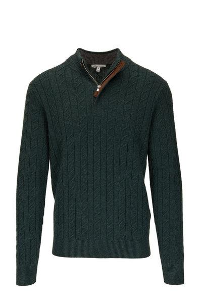 Peter Millar - Jurassic Green Cable Knit Quarter-Zip Pullover