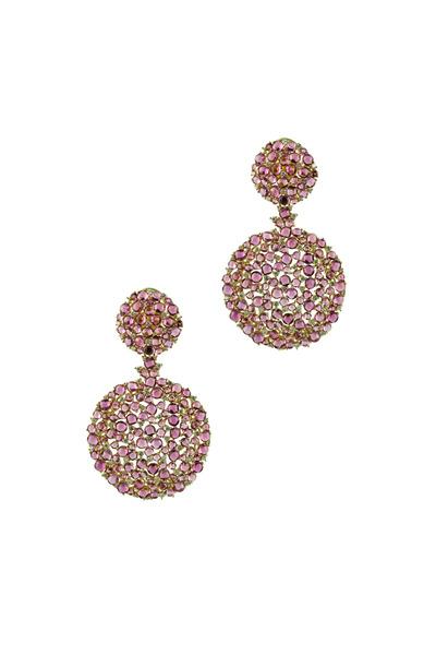 Paul Morelli - Gold Pink Topaz Diamond Larange Ball Earrings