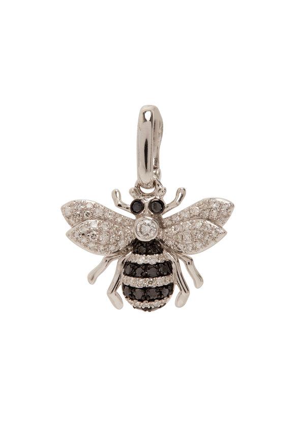 Kai Linz White Gold Black & White Diamond Bumble Bee Charm
