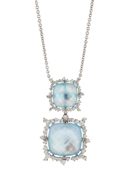 Paul Morelli - Blue Topaz Over Mother Of Pearl Diamond Necklace
