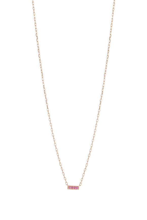 Walters Faith Rose Gold Grant Pink Sapphire Mini Bar Necklace