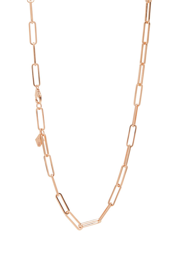 """Walters Faith 18K Rose Gold Saxon Chain Necklace, 16"""""""