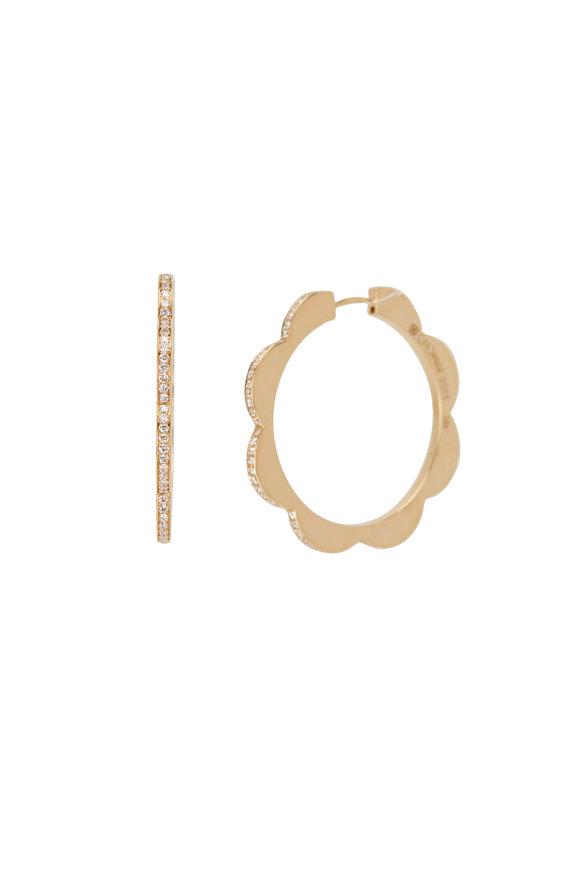 Cadar 18K Yellow Gold Diamond Triplet Hoop Earrings