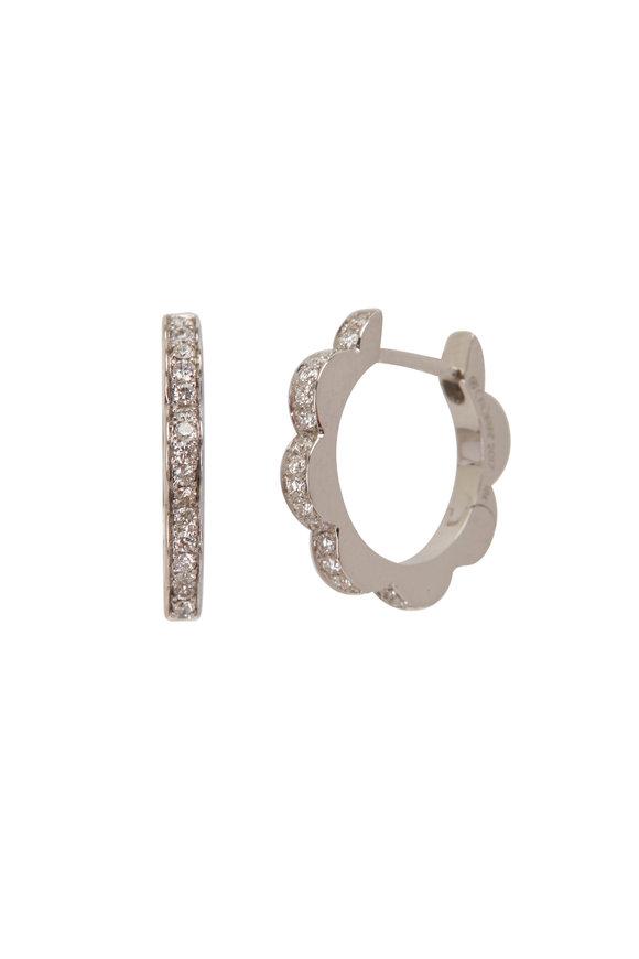 Cadar 18K White Gold Diamond Triplet Hoop Earrings