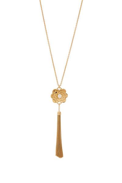Cadar - 18K Yellow Gold Multi Bloom Tassel Necklace