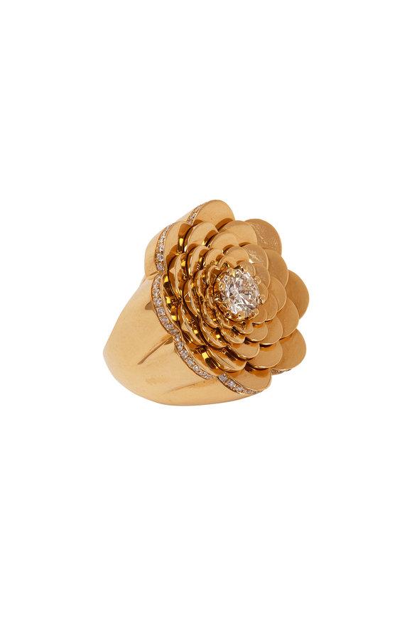 Cadar 18K Yellow Gold Diamond Trio Cocktail Ring