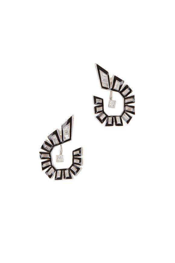 Stephen Webster 18K Gold, White Diamond & Black Enamel Earrings