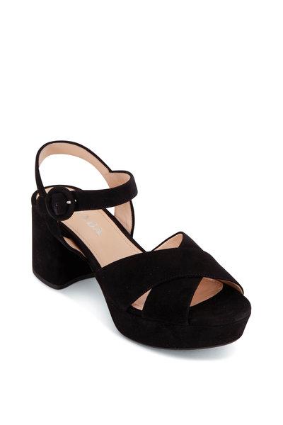 Prada - Black Suede Chunky Heel Strappy Sandal, 65mm