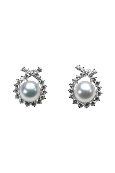 Assael - Angela Cummings Diamond & Pearl Button Earrings