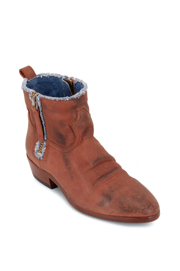 Golden Goose Brown Leather & Denim Lined Side Zip Boots