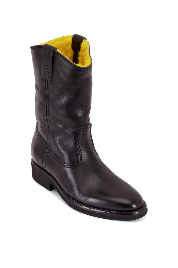Golden Goose Black Leather & Yellow Shearling Biker Boot