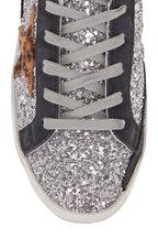 Golden Goose - Superstar Silver Glitter & Leopard Star Sneaker