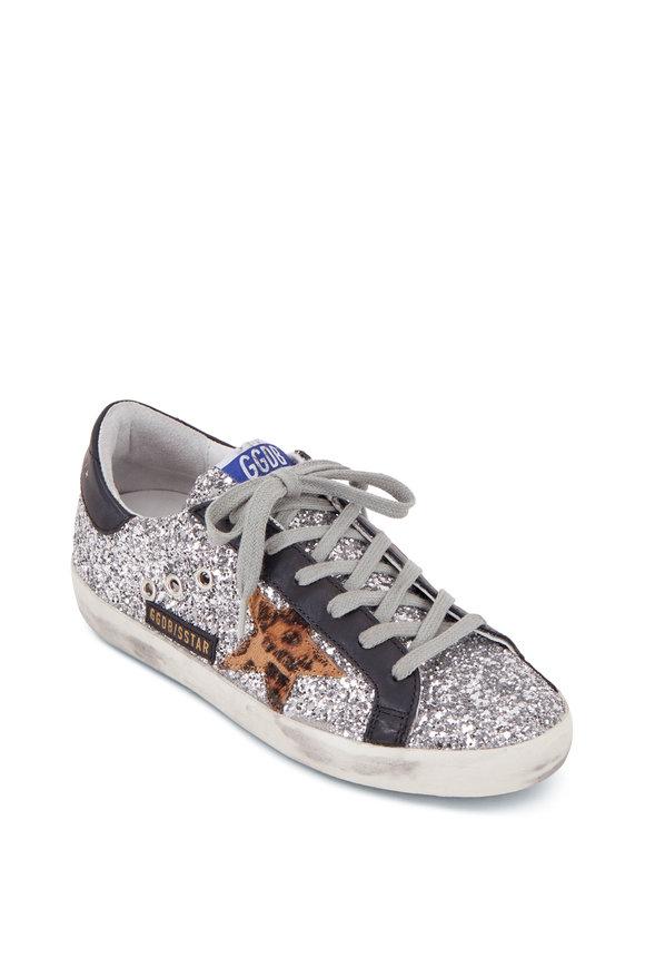 Golden Goose Superstar Silver Glitter & Leopard Star Sneaker