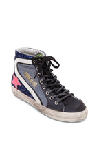 Golden Goose - Slide Blue Glitter & Hot Pink Star Sneaker