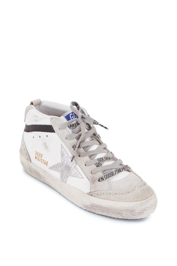 Golden Goose Midstar White Leather & Silver Star Sneaker