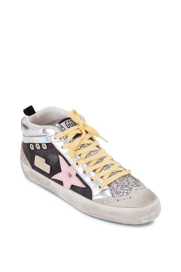 Golden Goose Mid-Star Silver Glitter & Pink Star Sneaker