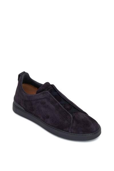 Ermenegildo Zegna - Triple Stitch Navy Suede Sneaker