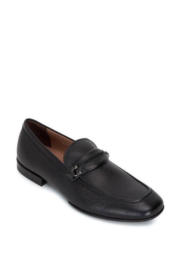 Salvatore Ferragamo Raion Black Leather Gancini Bit Loafer