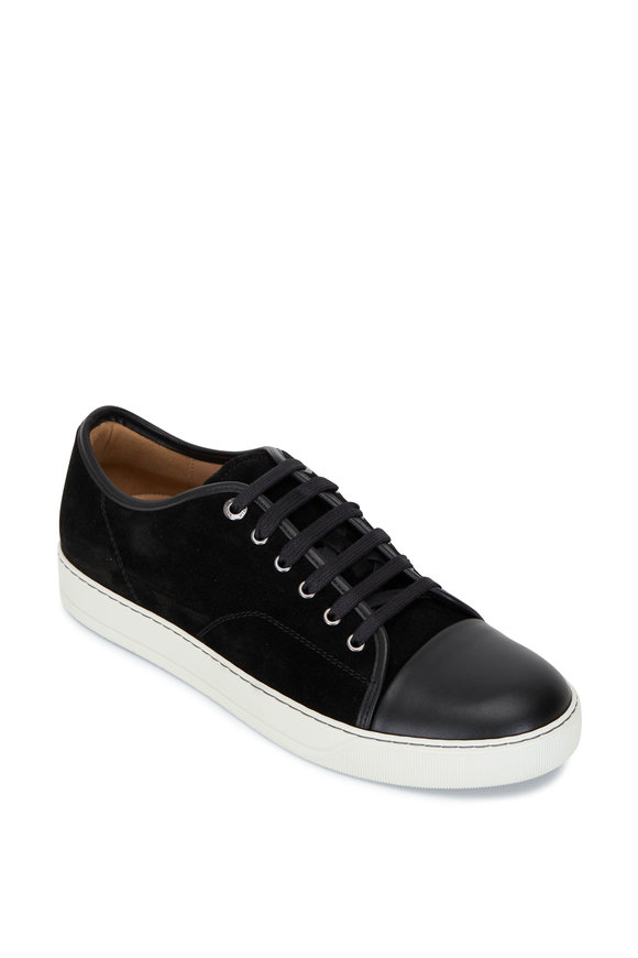 Lanvin Classic Black Suede & Leather Cap-Toe Sneaker