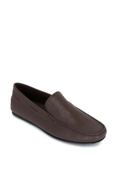 Tod's - Gomma Brown Textured Leather Penny Loafer