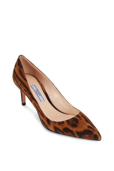 Prada - Brown Suede Leopard Print Pump, 65mm