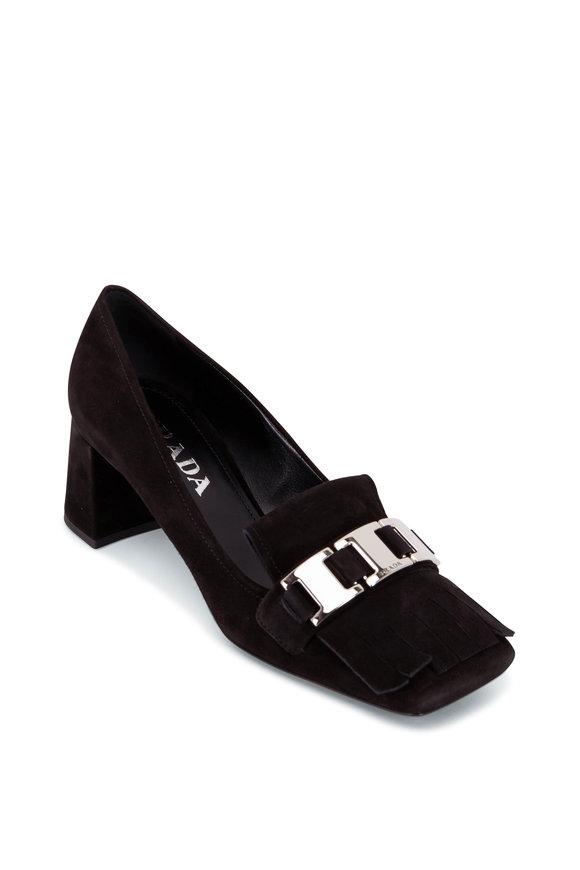 Prada Black Suede Block Heel Fringe Loafer, 55mm