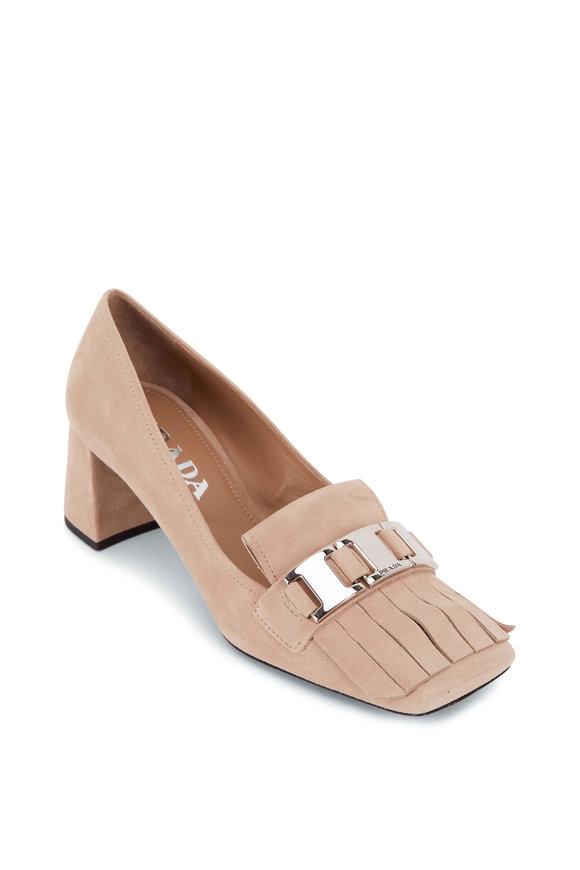 Prada Beige Suede Block Heel Fringe Loafer, 55mm