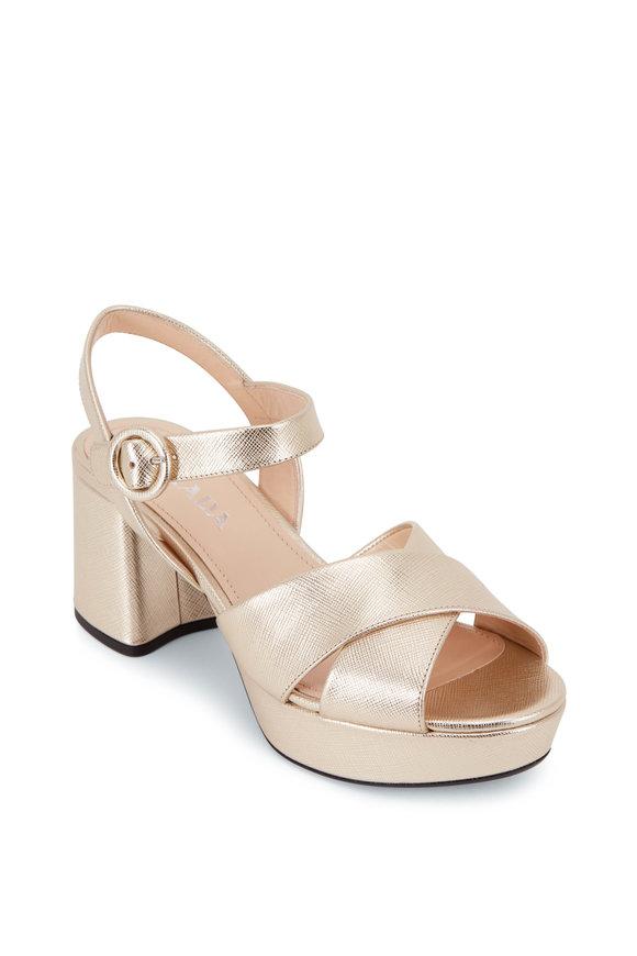 Prada Gold Metallic Chunky Heel Strappy Sandal, 65mm
