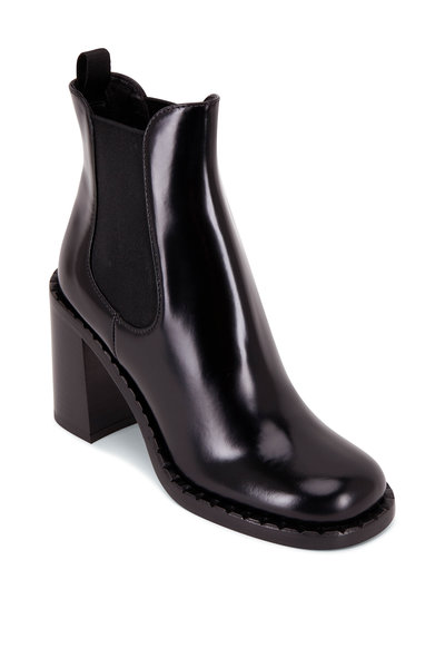 Prada - Black Leather Chunky Heel Boot, 85mm