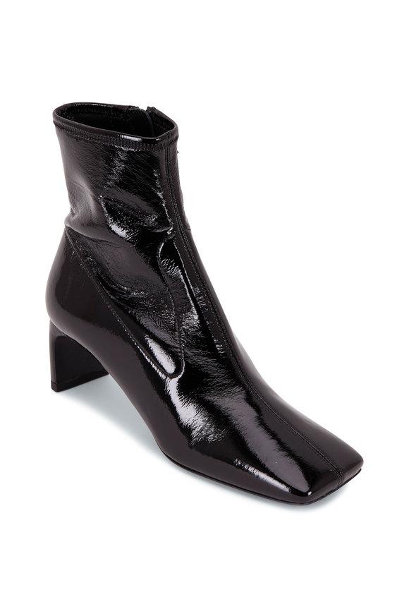 Prada Black Patent Leather Square Toe Bootie, 55mm