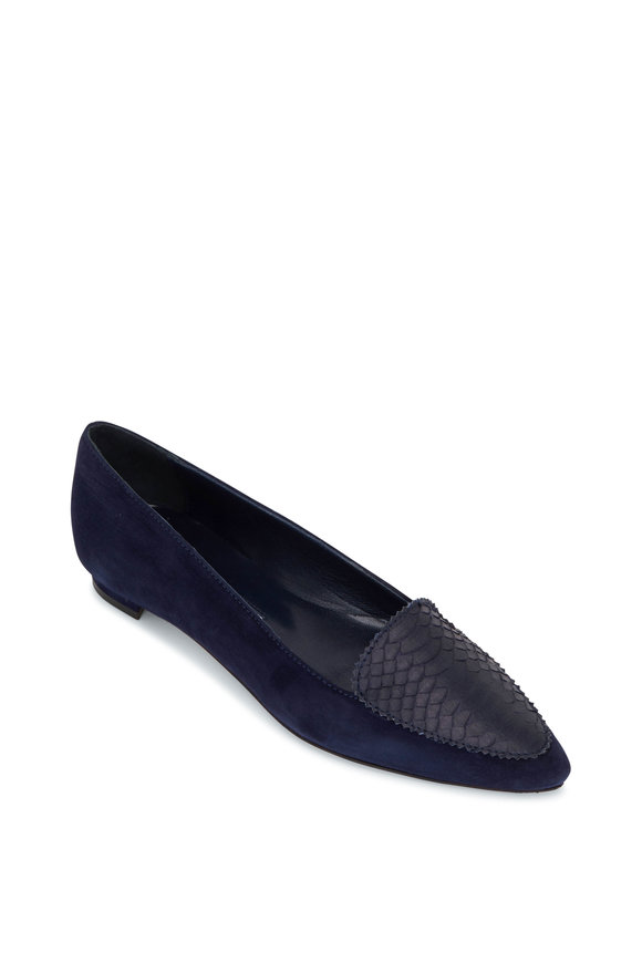 Manolo Blahnik Agos Navy Suede & Snake Leather Flat