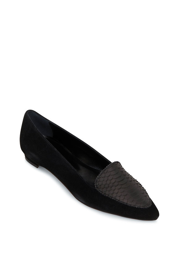 Manolo Blahnik Agos Black Suede & Snake Leather Flat