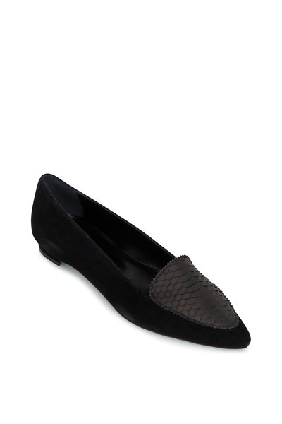 Manolo Blahnik - Agos Black Suede & Snake Leather Flat