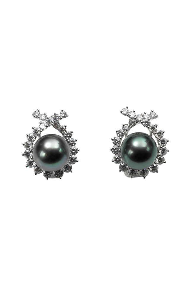 Gold Tahitian Pearl Diamond Criss Cross Earrings