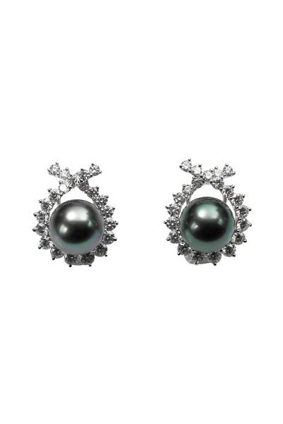 Assael - Gold Tahitian Pearl Diamond Criss Cross Earrings
